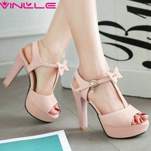 VINLLE 2017 Women Pumps Shoes Two-piece Buckle T-Strap High Heel Peep Toe Ladies Elegant Slingback Platform Shoes Size 34-43