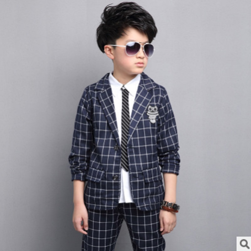 Boys Suits Sets 2017 New Spring Boys Leisure Suits Childrens Fashion 2 Solid Colors Single-breasted Plaid Suits Size4-14 ly106<br>