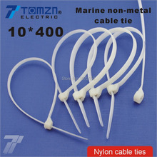 100pcs 10mm*400mm Nylon cable ties stainless steel plate locked for boat vessel with Marine non-metal tie(China)