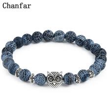 2017 Leopard Tiger Eye Lion Head Bracelet Owl Buddha beads Bracelets Bangles Charm Natural Stone Bracelet yoga Jewelry Men Women(China)