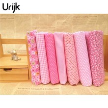 Urijk 7PCs/set 25*25cm Red DIY Patchwork Fabrics For Sewing The Cloth Quilting Cotton Fabric For Needlework Bedding Doll Textile(China)