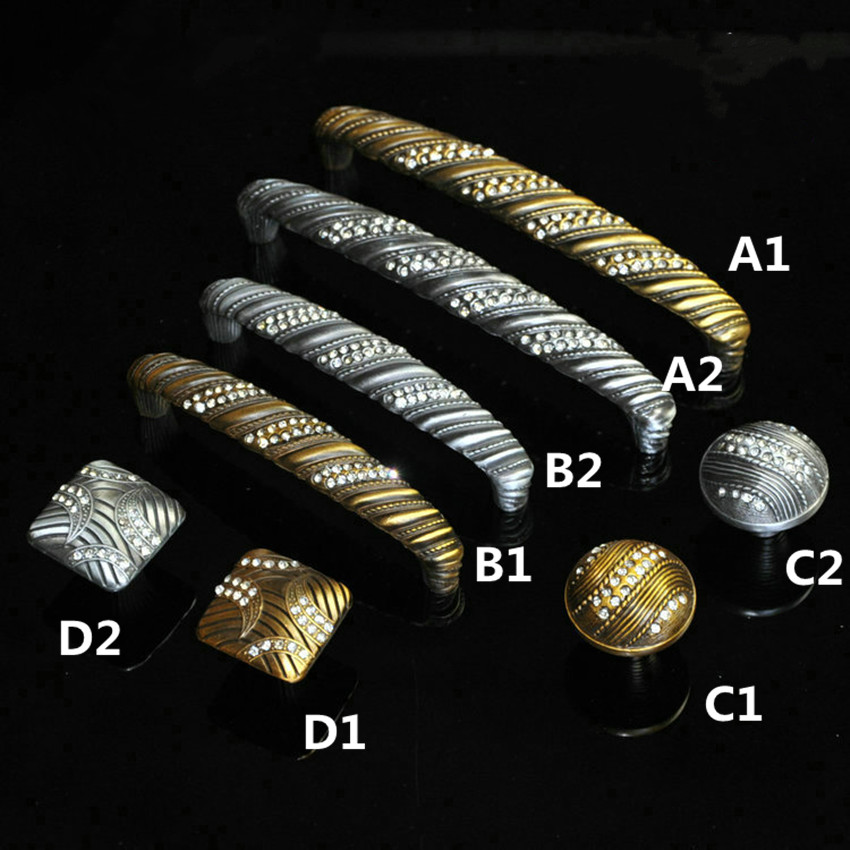 96mm 128mm european creative fashion rhinestone furniture handle bronze  / antique iron drawer cabinet dresser pulls knobs glass<br><br>Aliexpress