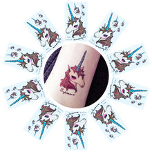 10pcs Disposable Unicorn Tattoo Stickers Party Decorations Wedding Decoration Tattoo Party Celebration Supplies 105*60mm(China)