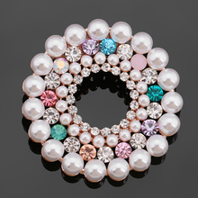 High Quality Shinning Crystal Rhinestones and Simulated Pearl Double Used Circle Brooch Pins or Scarf Clips for Women