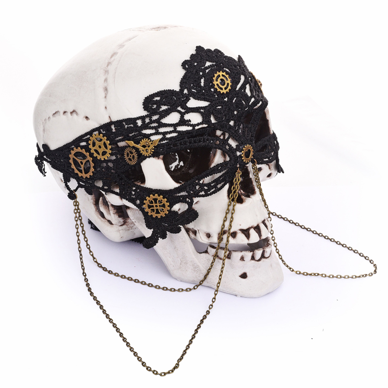 Antique Gold Steampunk Eye Mask Adult Gears Chains Venetian Costume Accessory