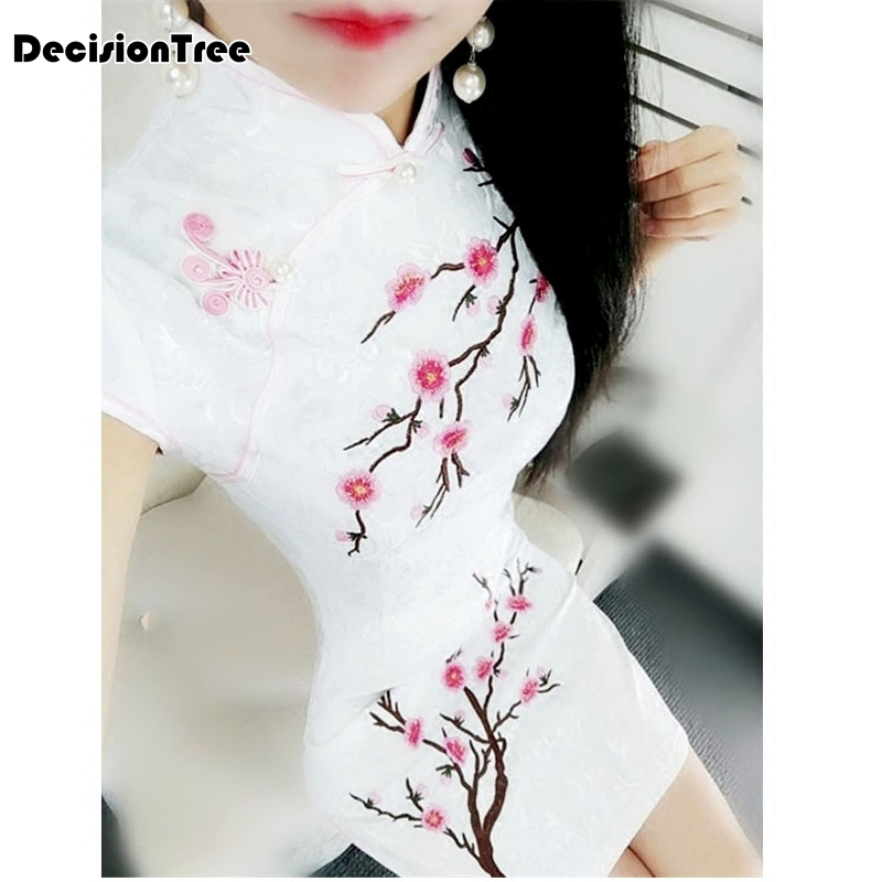 2019 summer lace modern cheongsam gold thread embroidery sequins long qipao traditional chinese dress robe chinoise dress