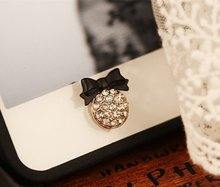 Lovely cute crystal rhinestones diamond bling red pink buttery bow phone home return key button sticker for Andriod mobile phone(China)