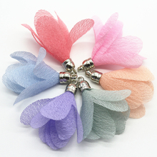 100pcs Silk Satin Flower Tassel Pendants For Keychain Cellphone Straps Jewelry Charms Making Bag Pendants Diy Accessories