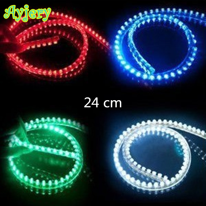 Car-styling! 2 PCS PVC-24CM Strip Lights Flexible LED Strip Lamps Blue Green Red White Yellow Pink RGB Color Car Decorate(China (Mainland))