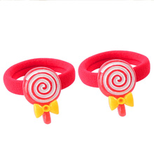2pcs/Lot Cute Cartoon Little Girls Hair Rope Resin Candy Elastic Hair Band Kid Ponytail Holder Children Hair Accessories Tie Gum