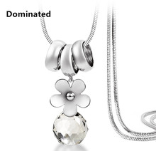 Dominated Women Character Daisy Crystal Ball Pendant Temperament Long Necklace Fashion Accessories Sweater Chain(China)