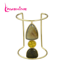 New Arrival Boho Big Bangles Pulseras Gold-Color With Yellow Stone Natural Stone Cuff Bangle Bracelets For Women