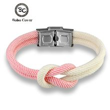 Bobo Cove New Fashion Men Women Macaron color Knot Infinity 8 Symbol Stainless Steel Buckle Navy Style Gifts Jewelry Pulseras(China)