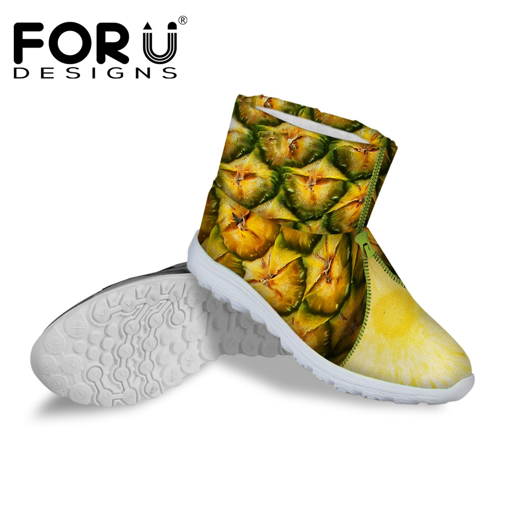 FORUDESIGNS Fashion Fur Warm Female Ladies Ankle Short Boots 3D Fruit Pattern Women Snow Boots Winter Woman Shoes Botas Mujer<br><br>Aliexpress
