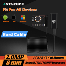 8LED 2MP HD720P Wifi Wireless Hard Flexible Snake USB Android IOS Endoscope Camera Iphone USB Pipe Inspection Borecope Camera(China)
