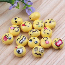 100Pcs Polymer Clay Beads Round Yellow Emoji Face Pattern At Random About 12mm Dia,Hole: Approx 1.8mm(China)