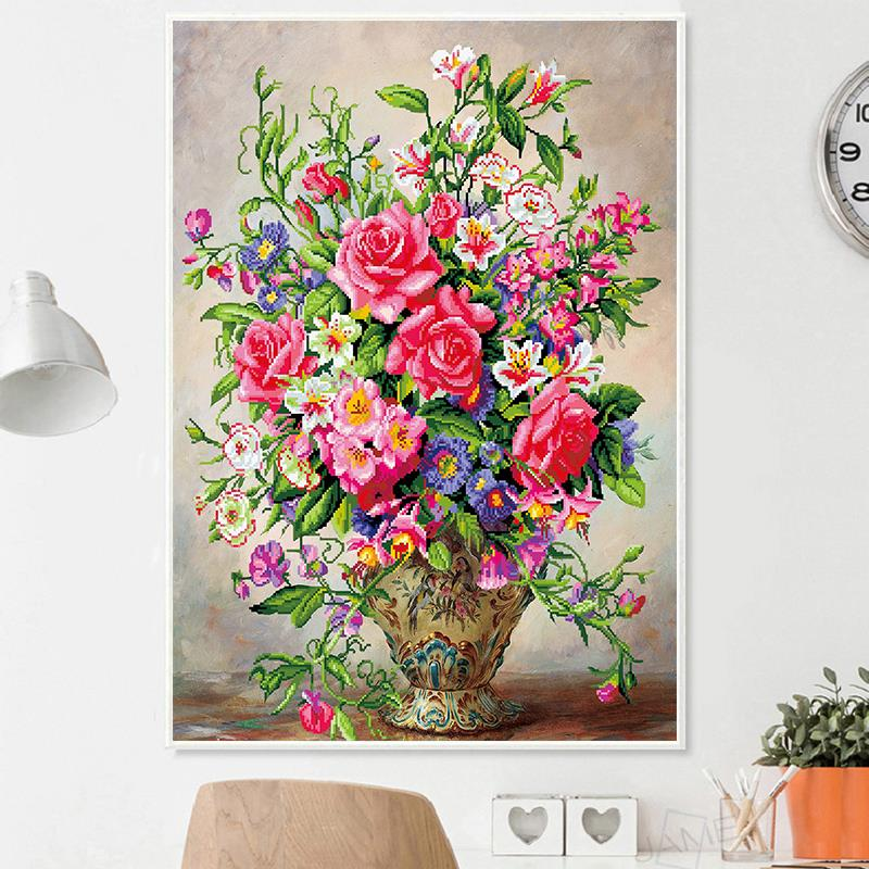 5D Diamond Embroidery Rose Flowers Round DIY Painting Cross Stitch Home Decor