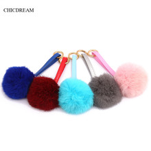Fashion 8 Fluffy Fur Ball Keychain Real Rabbit Fur Keychain Pompom Key Chain Pompon Keyring Charm PU Leather Chains For Women(China)