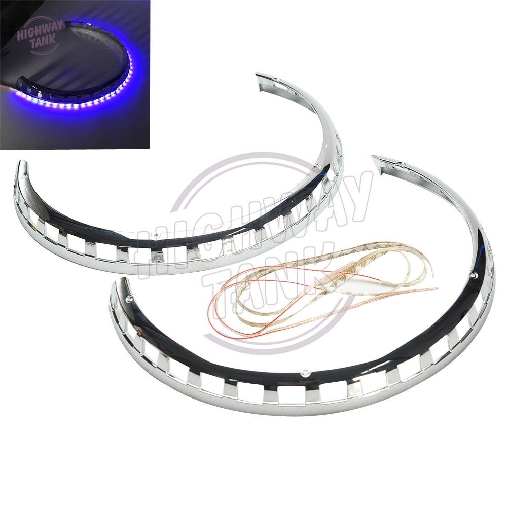 Chrome Motorcycle Brake Rotor Covers LED Fire Ring Blue Red case for Honda Goldwing GL1800 2001-2014<br>