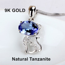 Light Blue Tanzanite 9K Gold pendant Cat design Women's day gift for Girlfriend Fine Jewelry gemstome pendant(China)