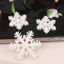 10Pcs Christmas Glitter Snowflake Resin Flatback flat back resin cabochons flowers for Girl Hair Bows Xmas Tree Deco