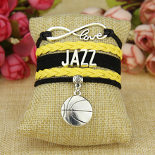 Infinity Love Jazz Football Team Bracelet Yellow Black Sports Promotion(China)