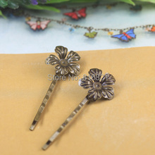 20mm Blank Bobby Pins Bases Settings Hollow Circle Flower pads Hair Clip Hairpins Crafts DIY Findings Silver/ bronze tone