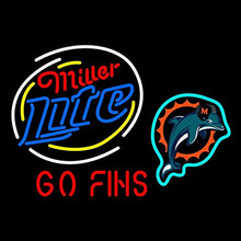 Miller Lite Mia Dolphins Neon Sign Beer Pub Neon Bulb Room Recreation Neon Signs Real Glass Tube Handcraft Plastic Board 31x24(China)