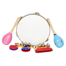 8pcs Maracas Castanets Handbells Harmonica Tambourine Musical Toys Set Percussion Instrument Band Rhythm Kit for Kids Children(China)