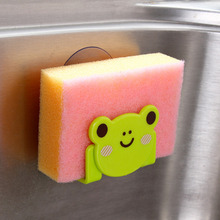 Cute Kawaii Cartoon Bear Wall Mounted type Bath Storage Box Animal Cat Soap bar Holder Kitchen Tools Sponge Drain shelf bag