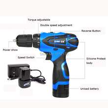 16.8V 2 Speed Waterproof Rechargeable Electric Drill Cordless Electric portable drill Screwdriver Tool Set+1*Battery+1*Charger
