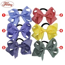1Pcs Handmade Gingham Hair Bow Ponytail Holder Elastic Hair Bands Girls Hair Accessories Hairbow Ropes Hair Ties for Kids(China)