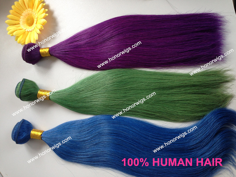 Discount stock hair weft new products 16 inches green color weft/weaving HW96 in sotck fast shipping <br><br>Aliexpress