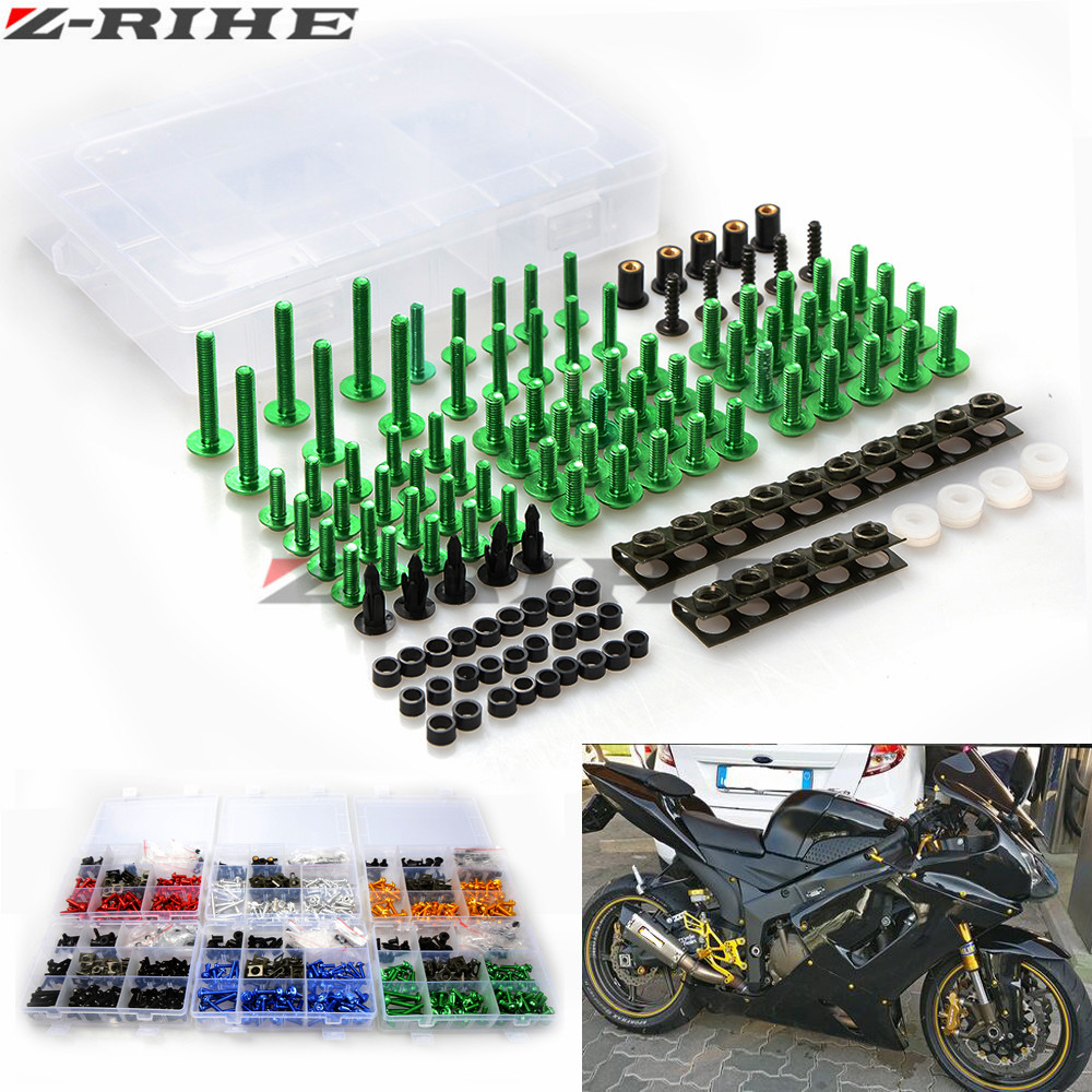 For KAWASAKI ninja 650r er6f er6n f z750 z800 z1000 zx9r Universal Motorcycle Fairing Bolt Screw Nuts Washers Fastener Fixation <br>