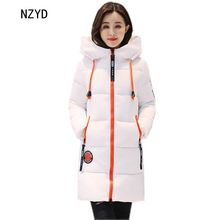 Women parkas 2017 New Fashion Winter Hooded Thick Warm Medium long Down Cotton Coat Long sleeve Slim Big yards Coat LADIES278(China)