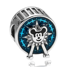 Free Shipping 1pc Silver Plated Mickey Ferris wheel Bead Charms fit Pandora European pulseiras Charm Bracelets & Bangles(China)