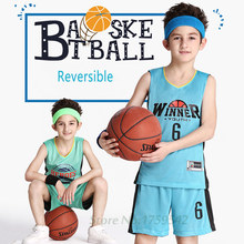 Reversible Boy's Basketball Jersey Shirt and Shorts Sets Custom Team Training Uniform Clothing Your Name and Number (10 colors)