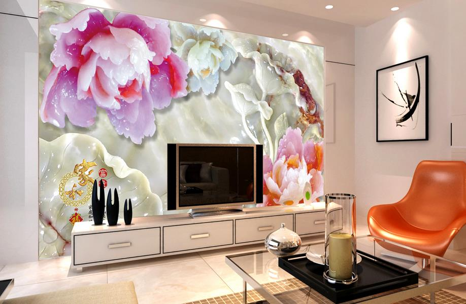 customized 3d wallpaper Jade carved peony lotus photo wallpaper papel pintado 3d wallpaper walls wallpapers for living room<br><br>Aliexpress