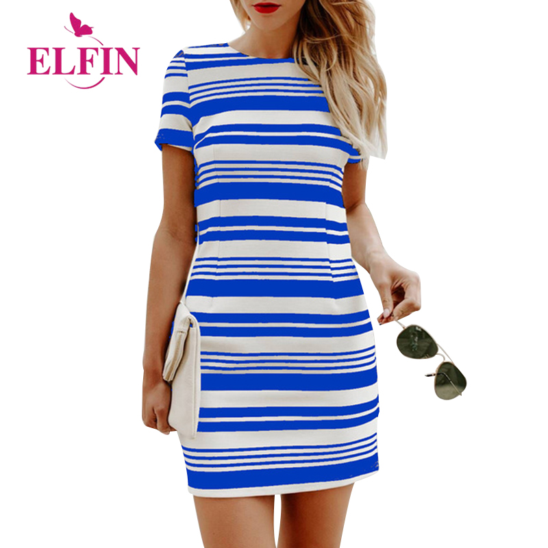 Casual Women Dress Short Sleeve Slim Fit Bodycon Dress Striped T Shirt Dress Women Clothing WS8547R