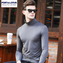 PORT&LOTUS Tops Casual Men T-Shirts Compression Long Sleeve Mens Tees Turtleneck Thin Men's T Shirt Clothing YT034 87802