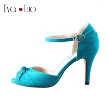 CHS596 DHL Express Custom Handmade Teal Blue Turquoise Suede Bridal Wedding Shoes Big Size SWomen Shoes High Heels Dress Pumps(China)