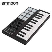 ammoon MIDI Controller Portable 25 Key MIDI  Keyboard Drum Pad Set with Durable USB Cable Keyboard Instrument