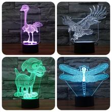 Action Panel 3D Optical Visualization Illusion 7 Colors USB Touch Switch Table Lamp LED Action Figure toy Home Decoration Eagle