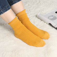 1 pair Women Girls socks Student Retro Cotton Solid Color Korean Style Winter Autumn Boots Socks Femme Trendy sock 10 Color