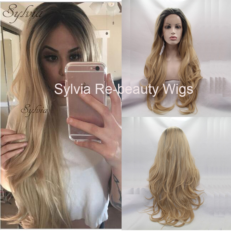 blonde ombre body wave wigs with drak roots free parting high quality loose wavy synthetic lace front wig heat resistant fiber<br><br>Aliexpress