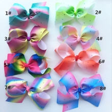 "10ps/lot 8"" Rainbow twist Hair Bow With alligator Clip For Girls, Boutique  Rainbow Bubbles flower hair clip Hair Acceessories"