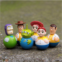 6pcs/set 4cm Toy Story Woody Buzz Alien Glass Jesse VC Collectible Figurine Model Toys
