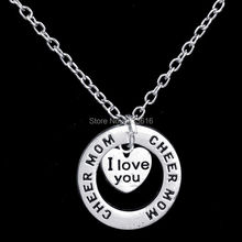 Buy Family Gifts Love Cheer Mom Heart Circle Round Charm Pendant Necklace Chain Xmas Jewelry Party Pedants Necklaces Wholesale for $1.20 in AliExpress store
