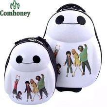 Children Suitcase Big Hero 6 Baymax Kids Luggage Travel Bags Girls Boys Schoolbags ABS Cartoon Rolling Luggage for School