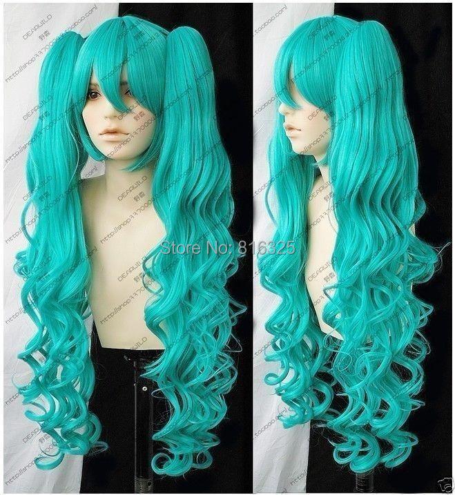 Wholesale DM32053 &gt;fashion Vocaloid Hatsune Miku Green Curly Cosplay WIG + 2 Ponytails<br><br>Aliexpress